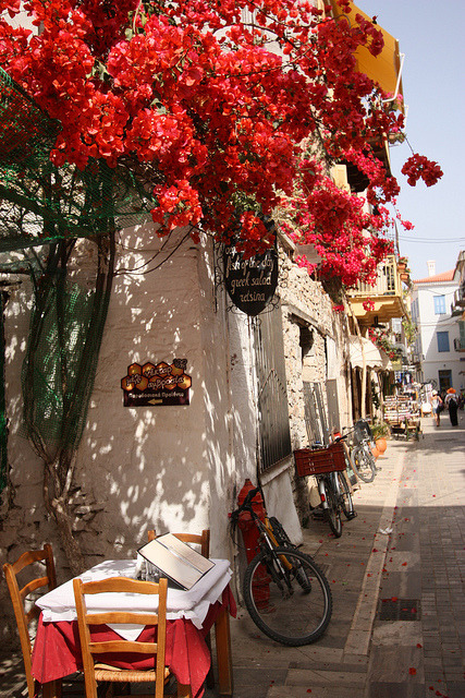 visitheworld:  Street scene in Nafplio, Peloponnese, Greece (by msleo247).