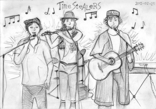 Timestealers, my friend's band. From left to right: Paul Murray, Jess Rubio and Liam Rickard. Drawing them while they're playing was difficult as they kept switching instruments.