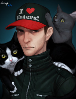 deadmau5:  denimecho:  Joel Zimmerman and his cats Professor Meowingtons and Miss Nyancat.Joel's been depressed lately. I mean, he always is, but it seems like it's worsened lately.Joel's sort of… important to me. I think it's cuz we've both been depressed all our lives.Normally I wouldn't do this shit for a fucking celeb, but I drew this in hopes of cheering him up a bit. I'm gonna try to send him a link or something, but if you know of any way I can reach him to show him this picture, please let me know.  wow… amazing.  seriously love the style.