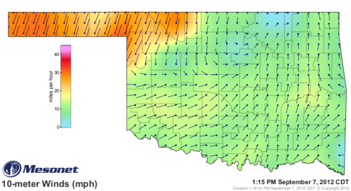 What I consider to be the first major cold front to affect Oklahoma this season is creeping past the panhandle and into the meat of the state this afternoon. So far the high gust on the day has been 45 but these can certainly go higher as the day progresses. Still looks like a late evening arrival here in the OKC area.