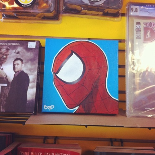 My Spider-Man painting on the wall at Soundwave Music and Movies!