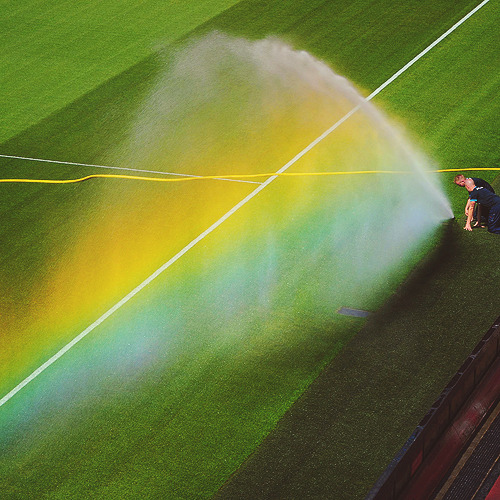 Watering the pitch at Emirates.