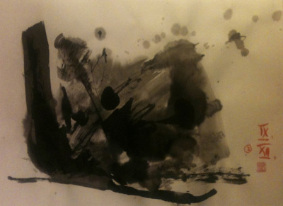 disappearing drops, ink on Japanese paper 33x24cm, Sept/2012 @_blacha_ on Flickr.