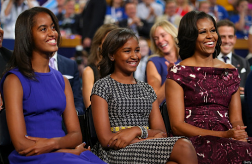 "kateoplis:  Obama Girls, Though Unheard, Figure Prominently in Race | NYT ""They are no longer the small children who toted little pink bags with Uno cards and markers at campaign events years ago in Illinois and Iowa. Malia, now 14 and nearly as tall as her parents, is a varsity tennis player with a cellphone. Sasha, 11, who seemed to grow overnight this summer, can chat in Mandarin. […] Aides who know the girls say they are disciplined, thanks to their father but mostly to their mother. (Some staff members even joke that they wish they could send their own children to Mrs. Obama's boot camp for training.) Here are just a few of the household rules that she has mentioned in interviews and other appearances: ¶ When the girls go on trips, they write reports on what they have seen, even if their school does not require it. ¶ Technology is for weekends. Malia may use her cellphone only then, and she and her sister cannot watch television or use a computer for anything but homework during the week. ¶ Malia and Sasha had to take up two sports: one they chose and one selected by their mother. ""I want them to understand what it feels like to do something you don't like and to improve,"" the first lady has said. ¶ Malia must learn to do laundry before she leaves for college. ¶ The girls have to eat their vegetables, and if they say that they are not hungry, they cannot ask for cookies or chips later. ""If you're full, you're full,"" Mrs. Obama said in an interview with Ladies' Home Journal. ""I don't want to see you in the kitchen after that."" [photo]"