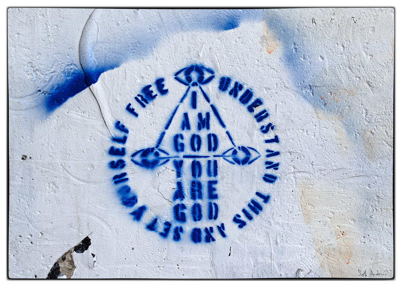 I AM GOD YOU ARE GOD - Hubbard Street Graffiti adjunct - embiggen by clicking here: http://bit.ly/P8POB3 I took this photo on August 18, 2012 at 01:38PM