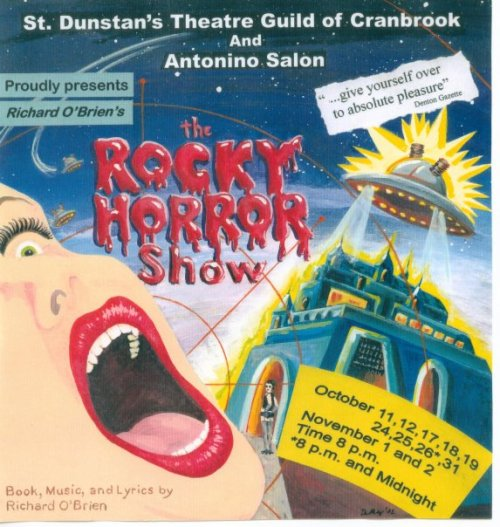 the poster for the community theatre production of Richard O'Brien's The Rocky Horror Show that i was in. i played one of the 6 Phantoms — there were 3 boys & 3 girls — so much fun!