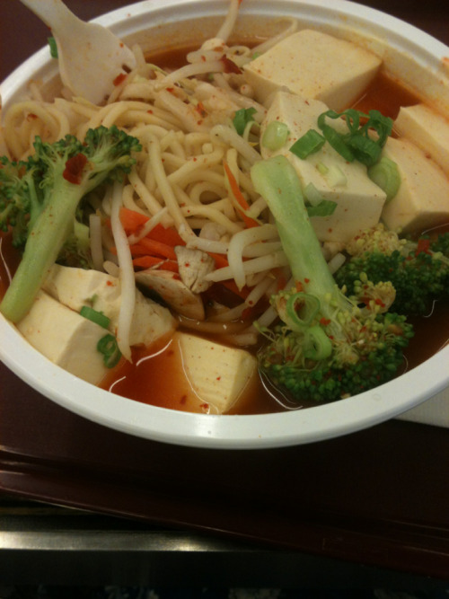 veggie and tofu spicy noodle soup- fast food Korean takeout place in sf