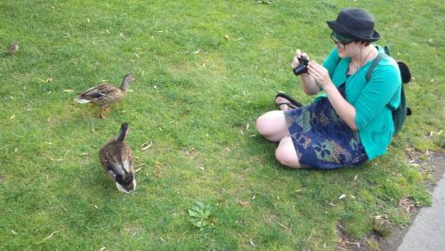 Me with some ducks in Boston! Still working on getting those photos off my mom's computer.