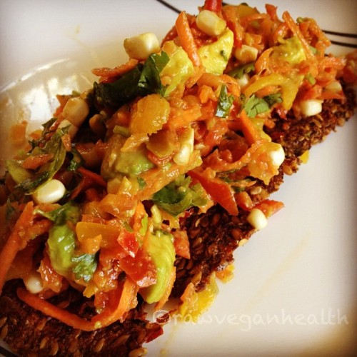 rawveganhealth:  Red bell pepper corn salsa on flax bread. #raw #rawfood #rawvegan #rawsome #vegan #healthfulcuisine #hippocrates #nutritious #delicious (Taken with Instagram)