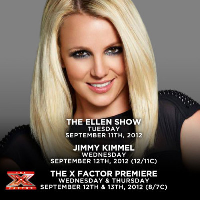 Watch Britney on The Ellen DeGeneres Show, Jimmy Kimmel Live, and The X Factor Premiere next week!