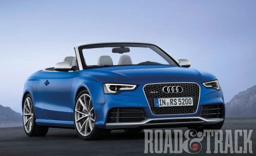 The 2013 Audi RS5 Cabriolet will be unveiled during the 2012 Paris Auto Show featuring a snarling 450-bhp 4.2-liter V-8 mated to a dual-clutch 7-speed S tronic. (Source: Road & Track)
