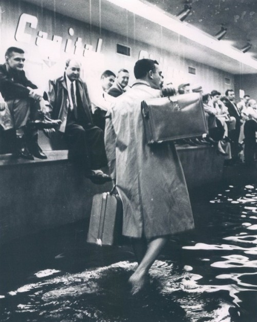 calumet412:  Flooded ticket area at Midway Airport, 1957, Chicago.