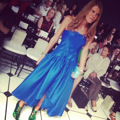 #A blue gown at 1:00 in the afternoon? Only #annadellorusso! #makeyourownfashionrules #jasonwu #nyfw (Taken with Instagram at 330 West St. New York, NY)
