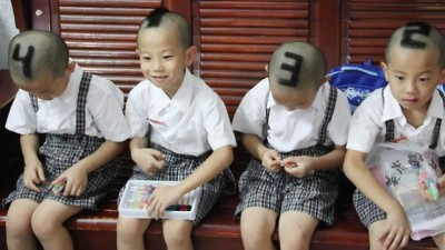 laughingsquid:  A Mother Shaves Numbers On Her Identical Quadruplet Boys' Heads