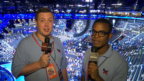 comedycentral:  ccindecision:  We are at the DNC and we are very high up.  For more of the Indecision Delegates, don't miss Jordan and Jared on CNN Newsroom with Don Lemon tomorrow night at 10/9c.