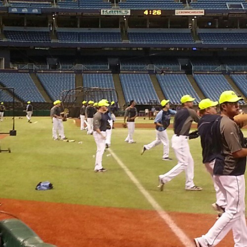 raysbaseball:  Our #Rays getting ready for #CalvinHarris tonight! (Taken with Instagram)