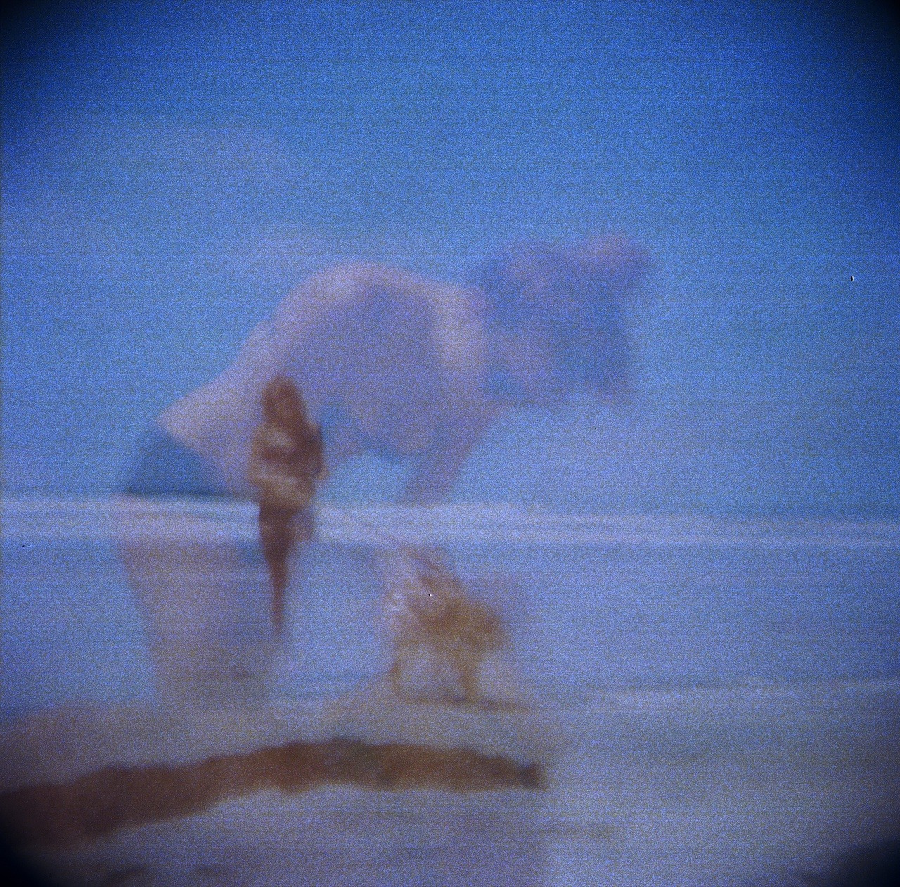summer's almost over (hopefully) me & dog on beach; mom's first try at Holga photography