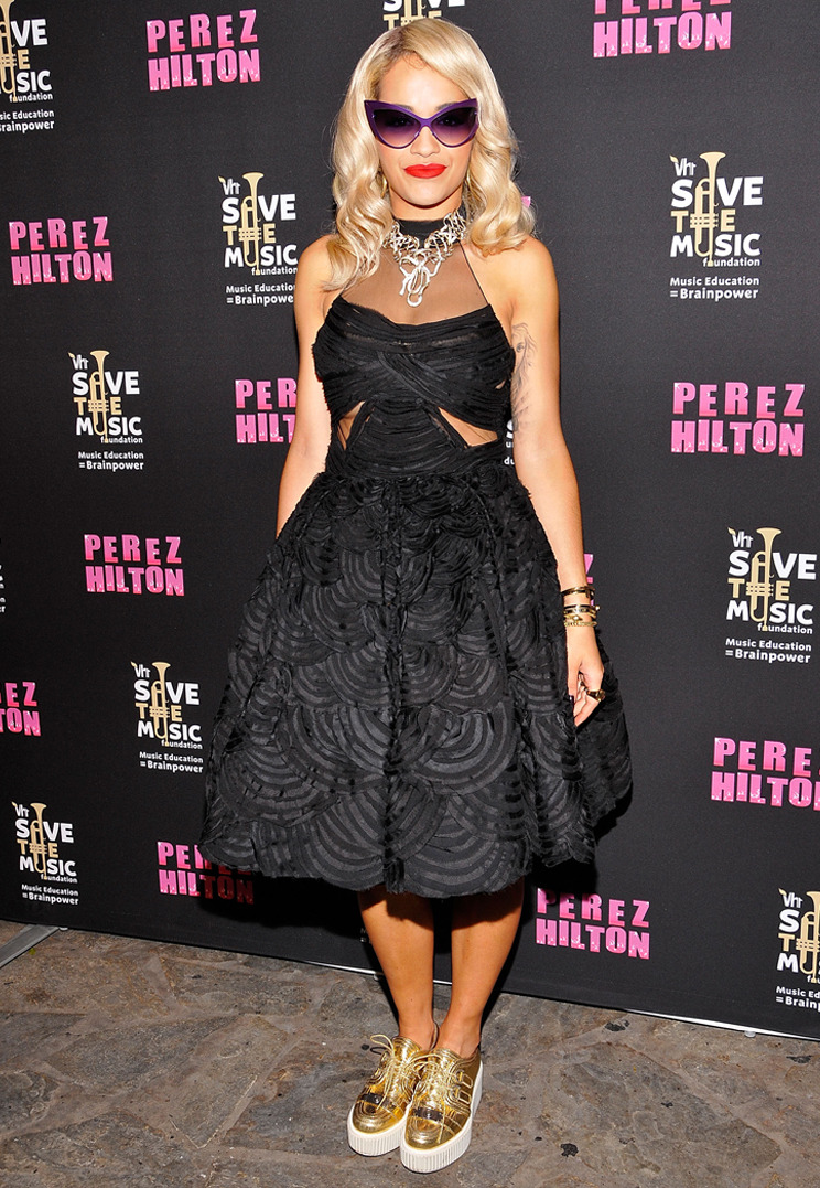 RITA ORA Singer/actress Rita Ora in Donna Karan Atelier at Perez Hilton's 'One Night In L.A.' benefit for VH1's Save The Music in Los Angeles, CA; September 6, 2012. Credit: Michael Tullberg/Getty Images TO SEE MORE RED CARPET LOOKS VISIT DONNAKARAN.COM