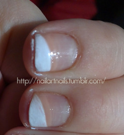 French manicure with nude line.