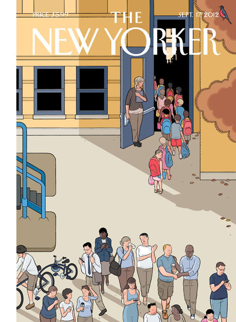 "Early release of next week's New Yorker cover. Chris Ware in town will be in town this weekend for the opening of an exhibition of one half of his drawings for his new book ""Building Stories,"" at the Adam Baumgold Gallery."