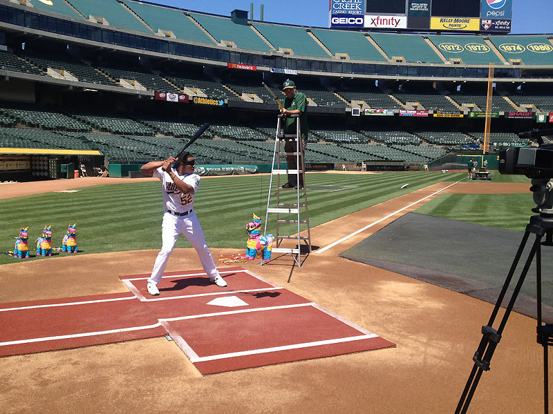 oaklandathletics:  Yoenis Céspedes at a commercial shoot for A's Fiesta Day. A's Fiesta Day is on Sunday, September 16. (Matt Shelton/Oakland Athletics)