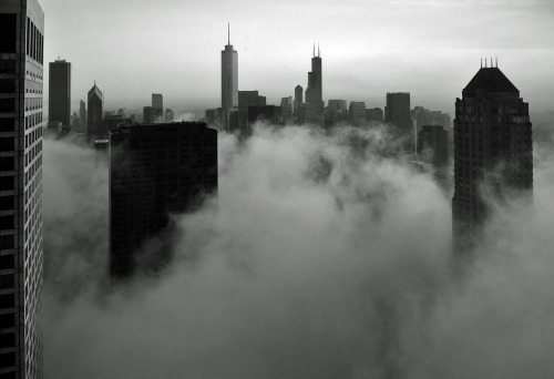 Chicago- Foggy Loop Skyline in B&W (by doug.siefken)