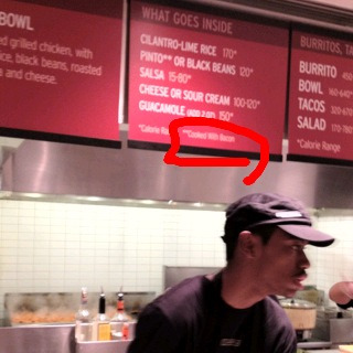 Noticed that the Chipotle sign (at 42nd and 5th ave) now indicates that the pinto beans are cooked with bacon, which is great because July '11 they pledged to @SethPorges (who told me about it) change the signs and three months later I walked into a Chipotle in Midtown that hadn't (see http://consumerist.com/2011/10/changing-over-chipotle-signs-to-show-pork-in-pinto-beans-will-take-a-few-months.html). Pork I don't care about. Promises? Yes.