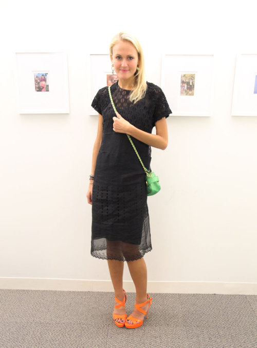 NYFW: Senior Fashion Market Editor Mary Kate Steinmiller wears a Prada dress and crossbody bag, Jimmy Choo heels