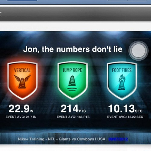 My @NikeTraining results from the #giants game. I gotta improve on these. #nike #gameonworld #makeitcount  (Taken with Instagram)