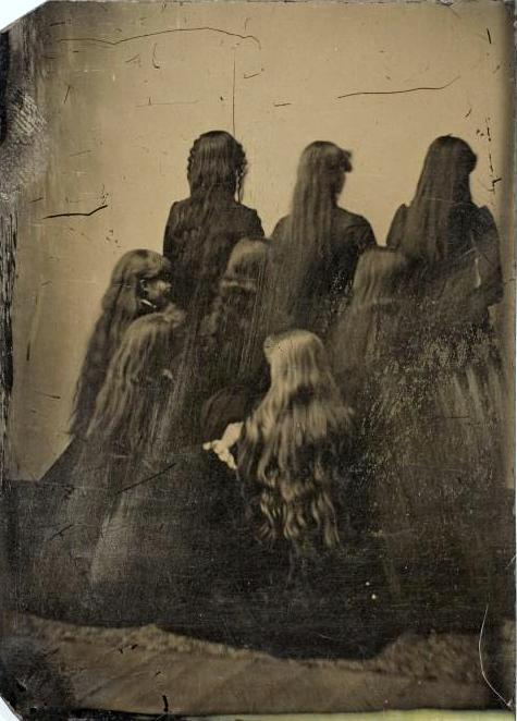 tuesday-johnson:  ca. 1880, [tintype portrait of eight women displaying their hair] via the International Center of Photography