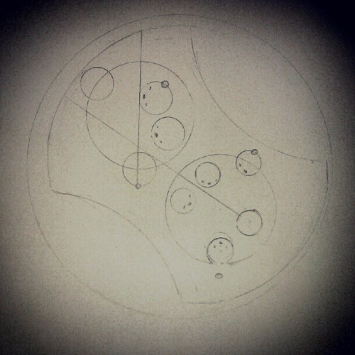 Attempting to write my name in Gallifreyan. Da-N-Ye-L-L  THi-L-Le-T A new fixation thanks to ItsTuesdayAgain.Tumblr.com (and again) and facilitated by Time Turners of the TARDIS wiki.  Effin' nerds, man. (I love them)  Done with a compass, which, as you can see, is hard to use without practice. Care to correct mine or share your attempts?