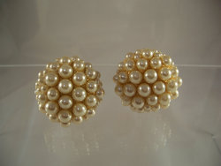 Huge Blanca Pearl Cluster Earrings 1980sFrom: PurpleMoonVintage