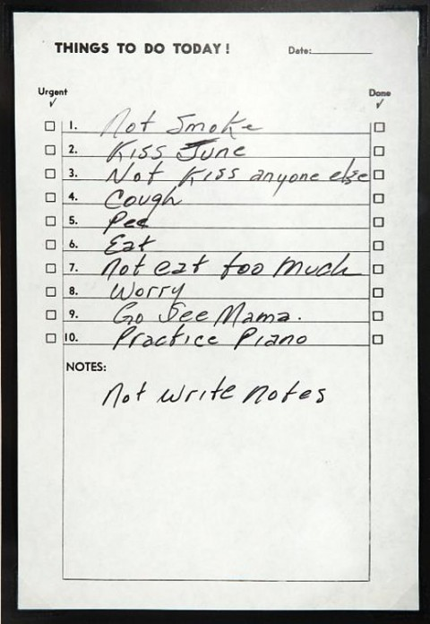 Johnny Cash's To Do List.