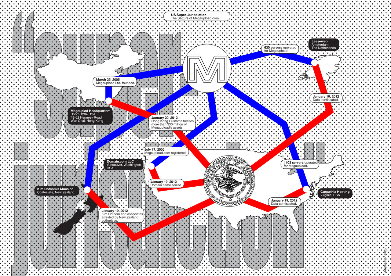 The seizure of Megaupload.com; using super-jurisdiction to allege a global conspiracy. From Part I of Captives of the Cloud by Metahaven, e-flux journal, 2012