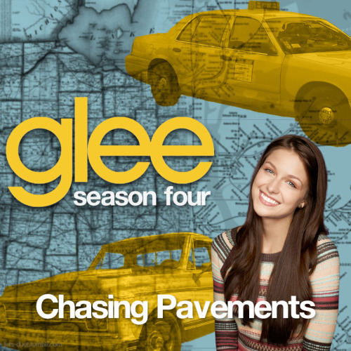 "A Glee album cover for ""Chasing Pavements"" by Adele, as sung by Melissa Benoist with the cast of Glee, from Episode 4x01 ""The New Rachel"" in my Map Backdrop style."