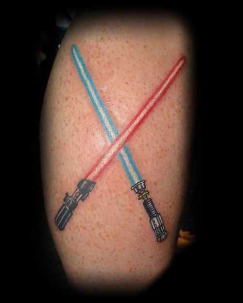 Star Wars light saber's done by Matt at Lucky Strike Tattoo in Quakertown, Pa.  http://www.facebook.com/Lucky.Strike.Tattoo