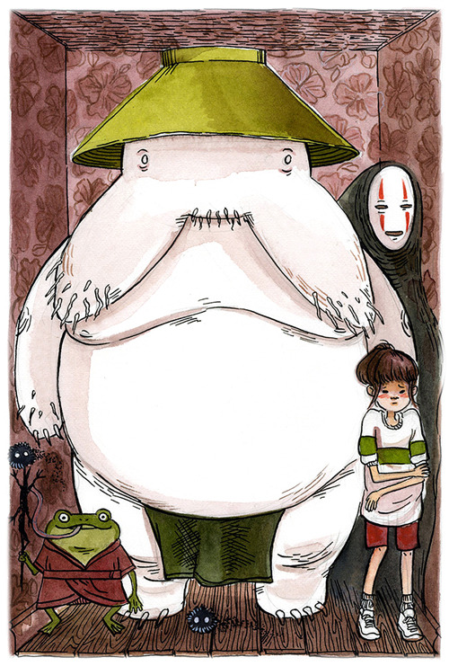 My Spirited Away piece for Ten Paces and Draw! I got to work to work on Julianna Brion's sketch, and it was a lot of fun. Spirited Away is probably my favorite Miyazaki film.