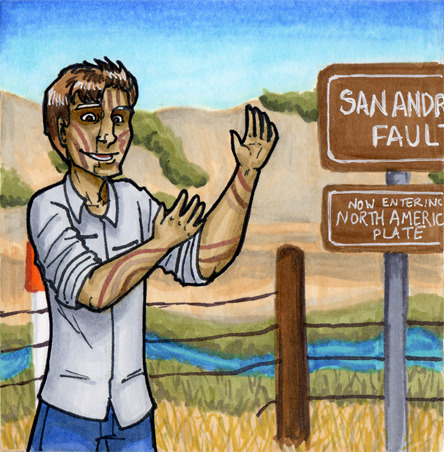 Here's the finished (minus text) version of that San Andreas Fault drawing I was blathering about last night. I think this is one of my favorite drawings I've done of this character. (Of course, I'll probably hate it a month from now, but that is a whole month away!)