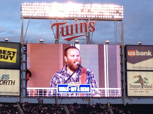 """Hey look! It's @4otf and @doubleasterisk rocking Target Field"" via @jakenyberg"