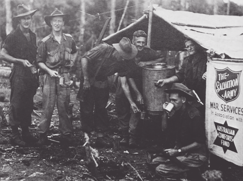 Aussies at the Salvation Army tent in Wewak, New Guinea 1945