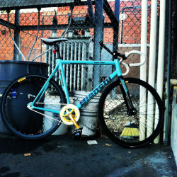 eighthspace:  Haven't shared my bike in a while. Bianchi super pista :) love of my life.
