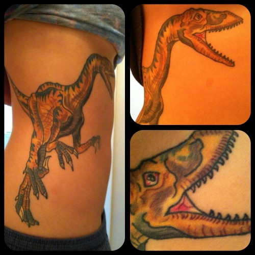 My third and so far favorite tattoo! I've always loved dinosaurs so I decided to get one tattooed!  Done by Chris Baumann in Columbia, SC. Really cool, super talented guy.