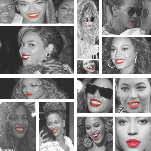 Beyoncé wearing red lipstick.