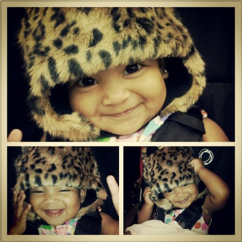 My #beautiful #angelface #SophiaMarie #cheetah #hat #baby #loveher  (Taken with Instagram)