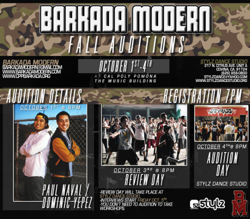 "barkadamodern:   Barkada Modern traces its roots to the Pilipino-American Student Association at Cal Poly Pomona known as Barkada. What began as a hip hop performance as part of the Pilipino-American Cultural Night(PACN) held once a year by Barkada, has since grown to a competitive dance team that competes all over California and has placed in the top 3 at several of these compeitions. Originally founded in 2005, Barkada Modern, also known as Bmod, began rehearsing on the campus of Cal Poly Pomona in front of the Music Building and on the 4th floor of the campus parking structure. Bmod officially began competing in 2007 and in 2010, moved from the campus of Cal Poly Pomona to Stylz Dance Studio in West Covina, CA.  Today, Barkada Modern continues to strive to fulfill the mission statement and ideas laid out by the founding members and alumni while also striving to set their own standards to pass on to the future generations. Our passion for dance and performing is what ties us all together. ""Stay Hungry, Stay Humble"" - Arvin Arrozal (Founding Member)Mission Statement:""While upholding Barkada's values, Barkada Modern will provide a positive environment for dancers to learn and grow with the promotion of unity and teamwork. With our determination, we will establish individuality. Through dance we will continuously strive to exude our creativity and passion."" - Founding Team MembersWHAT, WHEN, & WHERE?!2012 Fall Auditions Monday October 1st, Wednesday October 3rd, and Thursday October 4thWORKSHOP: Monday 8pm (Registration @7:30 pm) @ Cal Poly Pomona's Music Building (Building 24) http://www.csupomona.edu/maps/REVIEW: Wednesday 8pm @ Stylz Studio 217 N. Citrus Ave. Covina, CA 91723AUDITIONS: Thursday 8pm @ Stylz Studio 217 N. Citrus Ave. Covina, CA 91723INTERVIEWS: Friday (time TBA)WHY?! The members of Barkada Modern come together to create genuine and irreplaceable synergies in the studio and on stage. Come be a part of our family! If you love to dance, come show us what you've got! The Audition Process is free!CONTACT US here on the event pageADD US @ http://www.facebook.com/barkadamodernEMAIL US @ barkadamodern@gmail.com  AUDITIONS ARE HEREE!!"