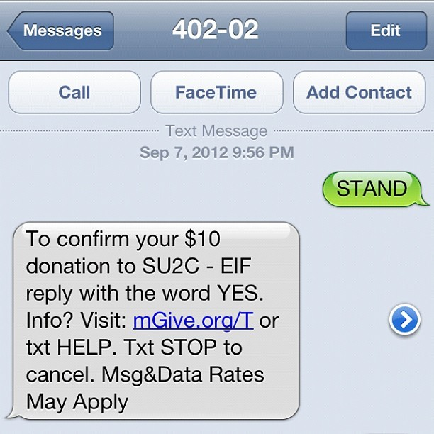"Stand Up 2 Cancer. It's only $10 people. You spend more on a very unhealthy lunch some days! Text ""STAND"" to 40202. #istandupfor (Taken with Instagram)"