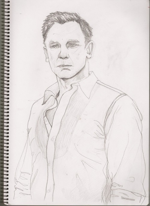 Page 42 Now, I drew a picture of a 40 year old man (Daniel Craig). Then I showed it to my friend Gyu Sung, and he 'fixed it'. He drew over the face and a bit of the clothes. That's okay though, but yeah, this isn't really my drawing any more.