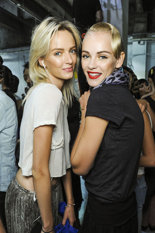 fuckyeahvintagediary:  Ginta Lapina and Daria Strokous at Jason Wu Spring/Summer 2013 backstage, New York Fashion Week.