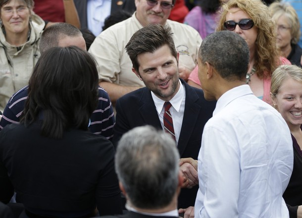 apsies:  President Obama and First Lady Michelle Obama greet actor Adam Scott during a campaign event at the University of Iowa, September 7, 2012.  Leslie's gonna be so jealous
