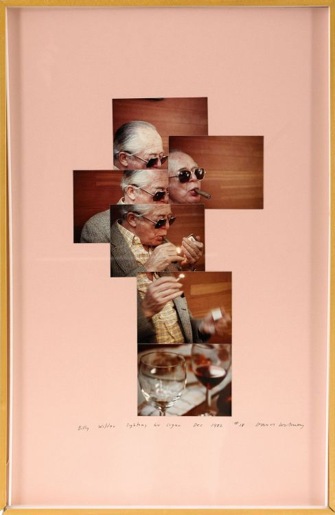 Billy Wilder lighting his cigar, photomontage by David Hockney, 1982 (via)  How I wish I could find a good copy of Hockey's Cameraworks for less than $100…